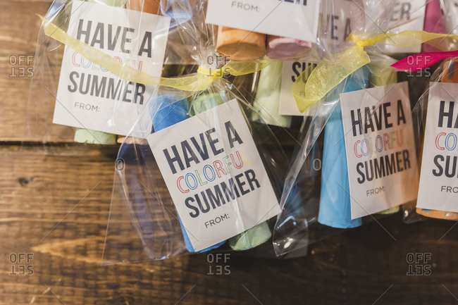 Summer gift bags with chalk