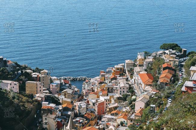 Bird's eye view over Italian village on the coast