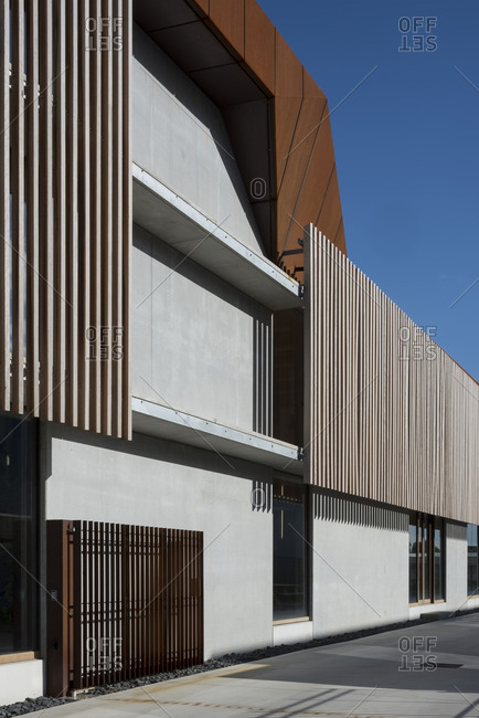 Brown and white modern building exterior