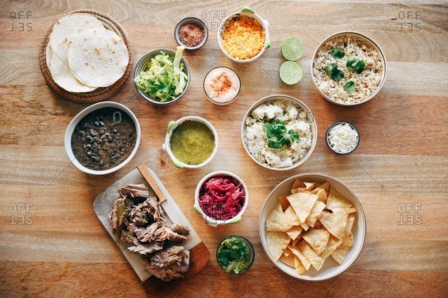 Overhead view of a ingredients for Mexican taco dish