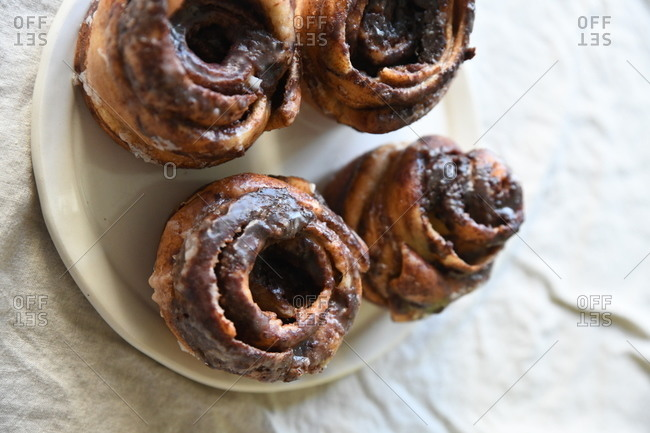 Close up of cinnamon roll pastries