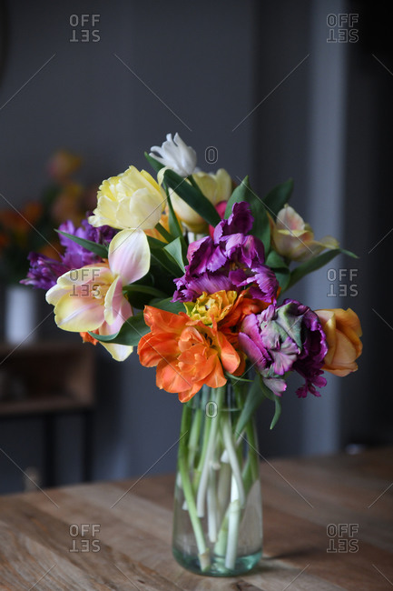 Colorful flowers in a glass vase