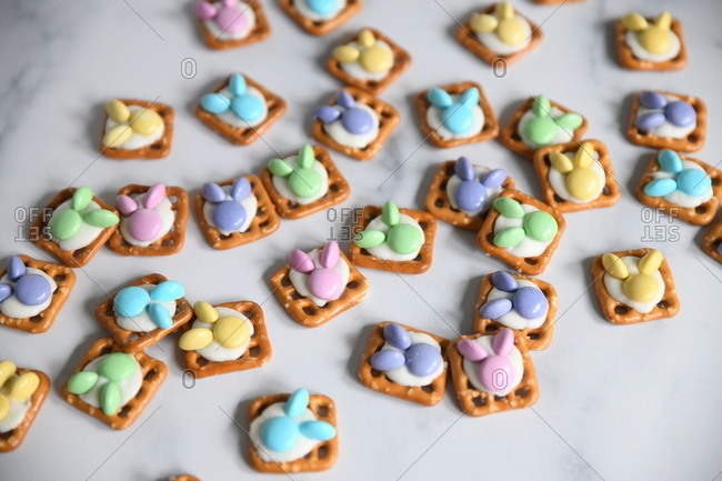 Pastel candy bunnies on pretzels