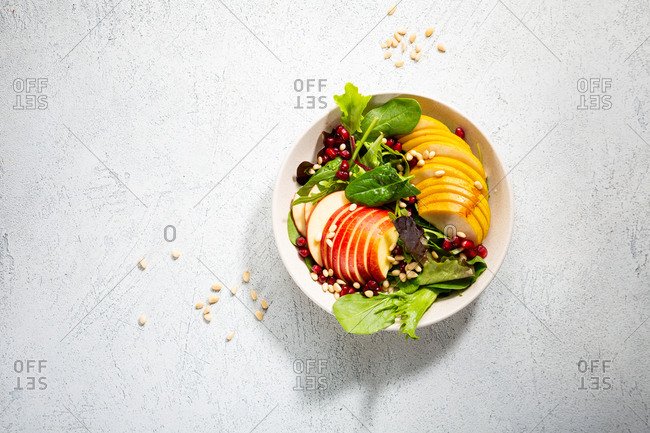 Overhead view of fruits salad in bowl