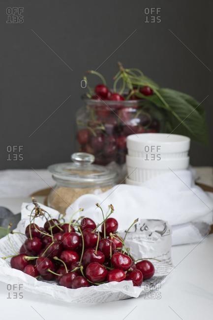 Fresh cherries with brown sugar