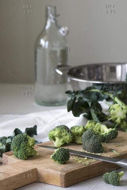 Broccoli being prepared