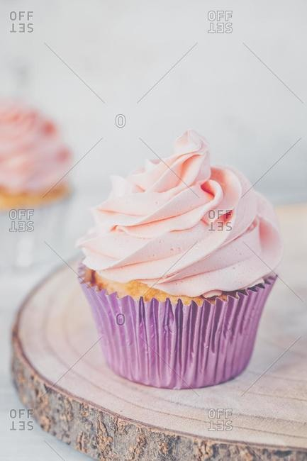 Close-up of a cupcake with buttercream icing