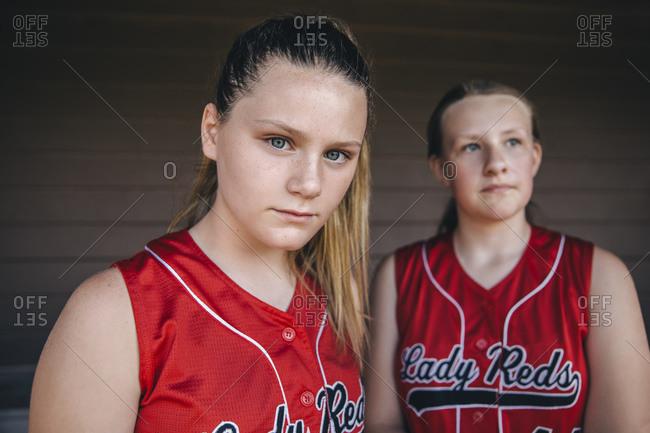 Portrait of serious teenage softball player