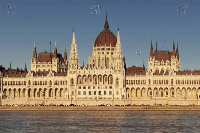 Parliament at sunset, Pest, Budapest, Hungary