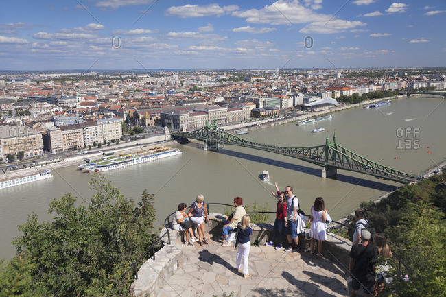 August 23, 2017: View from Gellert Hill over the Liberty Bridge and Danube to Pest, Budapest, Hungary