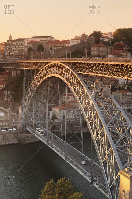 June 15, 2017: Ponte Dom Luis I. Bridge over the Douro river, Ribeira old town, UNESCO World Heritage Site, Porto, Norte region, Portugal
