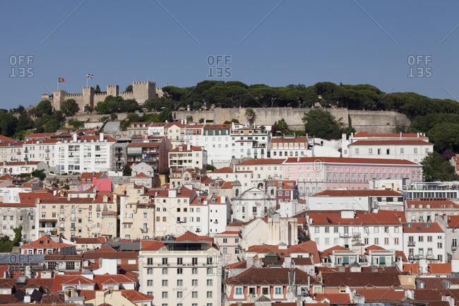 June 12, 2017: View over the old town to the castle Castelo de Sao Jorge, Lisbon, Portugal