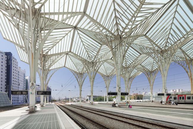 June 12, 2017: Gare do Oriente railway station, architect Santiago Calatrava, Lisbon, Portugal