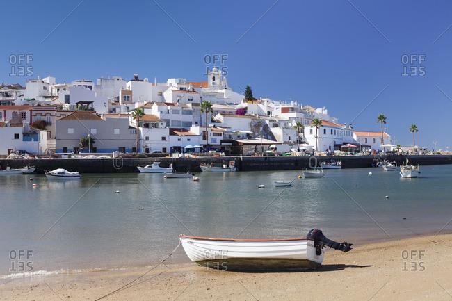 June 7, 2017: Fishing village Ferragudo, at Portimao, Algarve, Portugal