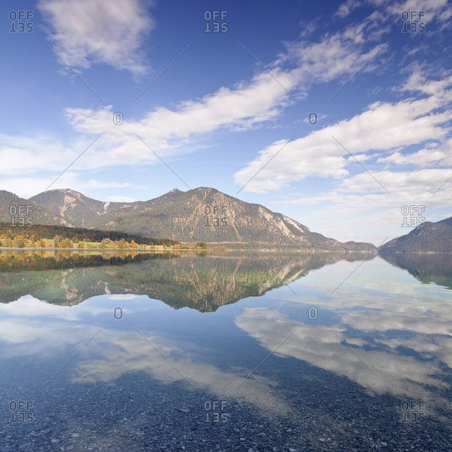 View from Walchensee to Heimgarten and Herzogstand, Upper Bavaria, Bavaria, Germany