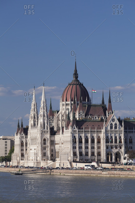 View across Danube to the Parliament, Pest, Budapest, Hungary