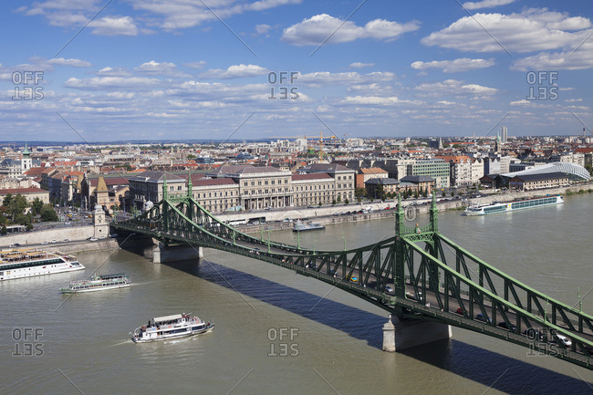 August 23, 2017: Liberty Bridge over Danube with view to Pest, Budapest, Hungary