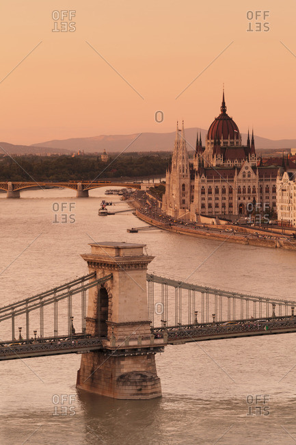 View over the Chain Bridge to Parliament, Danube, Budapest, Hungary