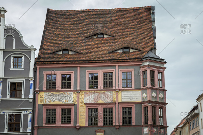 August 13, 2017: View of a house in Gorlitz, Saxony, Germany.