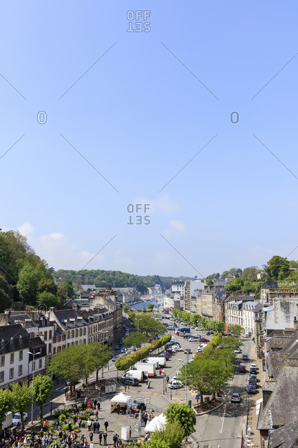 May 7, 2017: Europe, France, Brittany, Morlaix, view of the Place Cornic towards the harbor