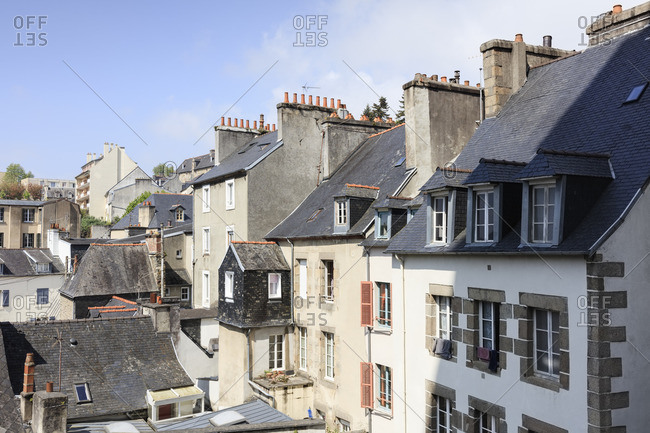 Europe, France, Brittany, Morlaix, view of various residential buildings