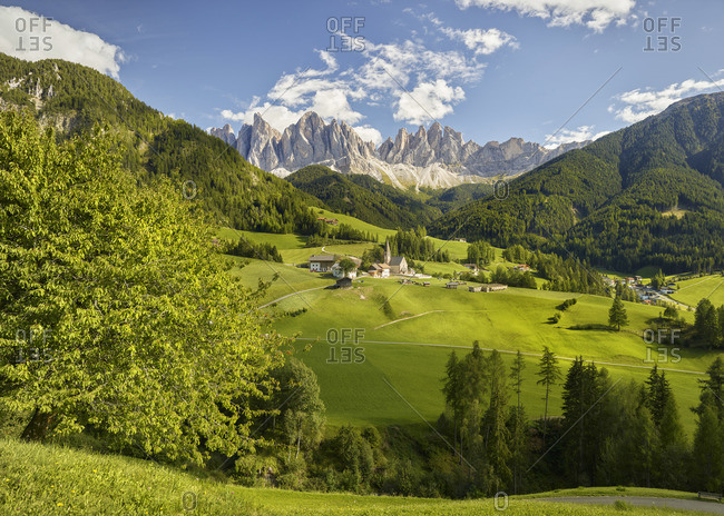 Geisler Group, Santa Magdalena, Villnoss Valley, South Tyrol, Italy