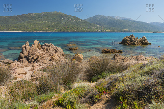 Coast in the bay of Propriano, Corse du Sud, Corsica, France