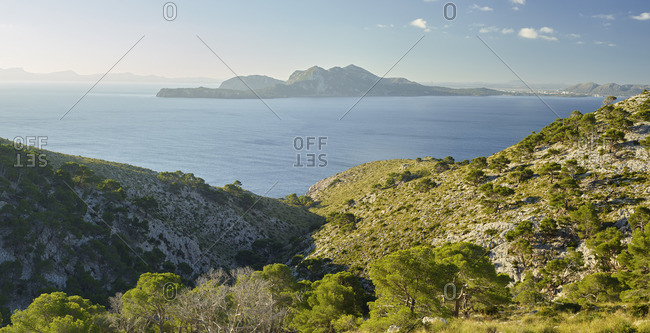 View from Cap de Formentor to the Bay of Alcudia, Mallorca, Balearic Islands, Spain