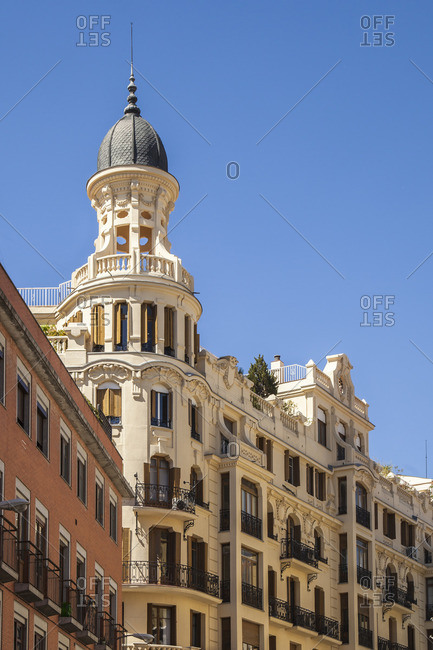 House facade, decorated with stucco, Madrid, Spain, urban architecture