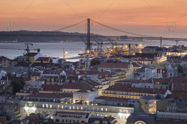 September 6, 2017: Portugal, Lisbon, detail downtown with harbor and Ponte 25 de Abril in the background
