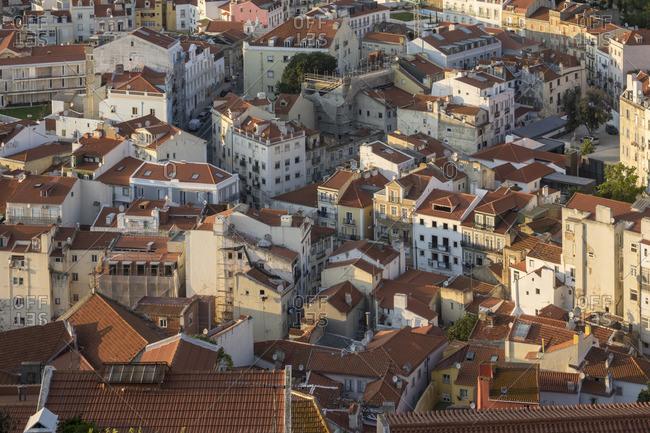 September 6, 2017: Portugal, Lisbon, Overview Inner city facades and roofs fom the Castelo de São Jorge