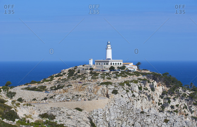 Spain, Balearic Islands, Mallorca, Pollenca, Formentor peninsula, Cap de Formentower, lighthouse, mountain road