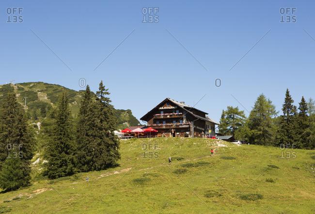 August 8, 2016: Austria, Styria, Salzkammergut, Ausseerland, Tauplitz, mountain inn Hollhaus,