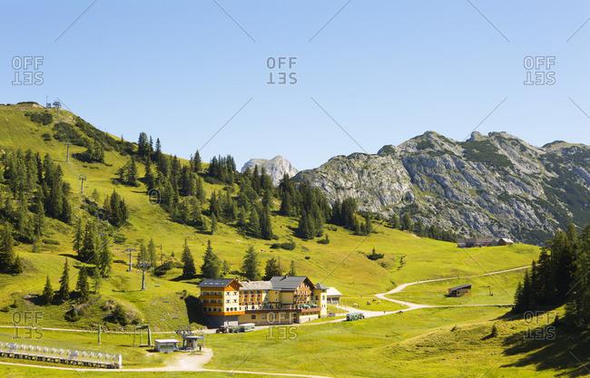 August 8, 2016: Austria, Styria, Salzkammergut, Ausseerland, Tauplitz, mountain inn Hierzegger,