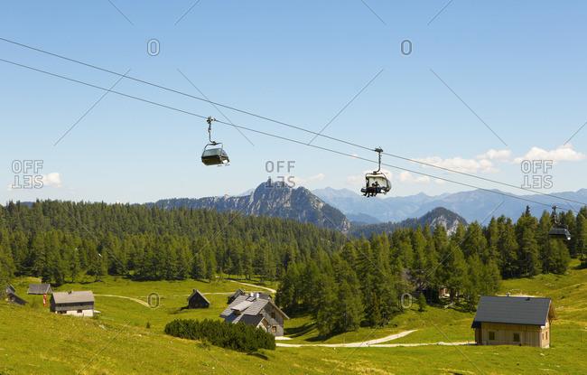 August 8, 2016: Austria, Styria, Salzkammergut, Styrian Salzkammergut, Ausseerland, Tauplitz, Tauplitz Alm, Alpine huts, Tauplitz chairlift,