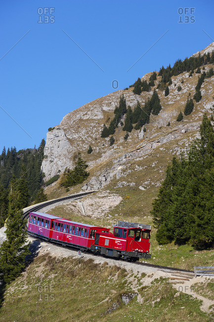 October 15, 2017: Austria, Salzkammergut, Saint Wolfgang, Schafberg, rack railway,