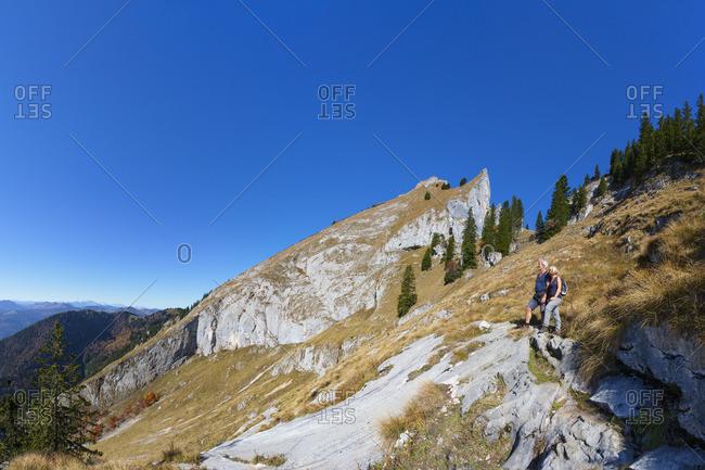 Austria, Upper Austria, Salzkammergut, Saint Wolfgang, Schafberg, Purtschellersteig to the Schafberg, Wanderer,