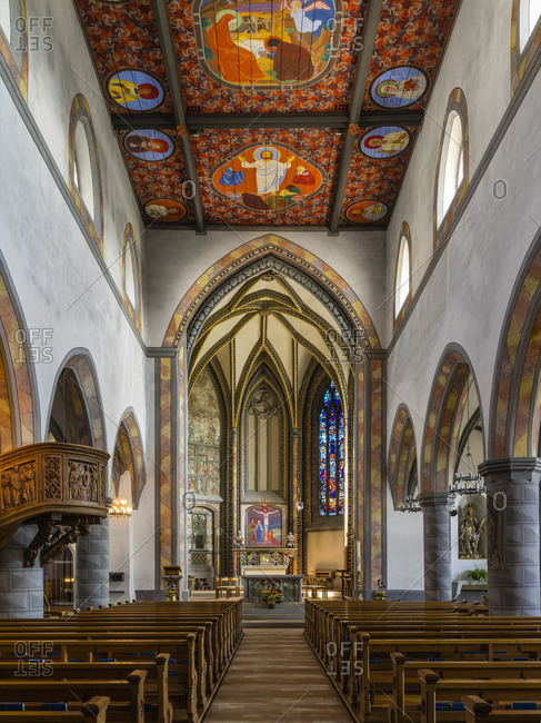 May 21, 2018: Nave of St. Nicholas Church in Wil, St. Gallen