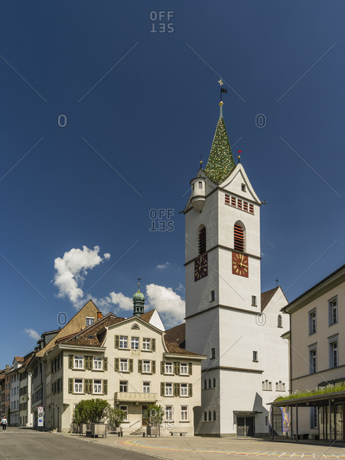 May 21, 2018: Old town with the St. Nikolaus church in Wil, St. Gallen