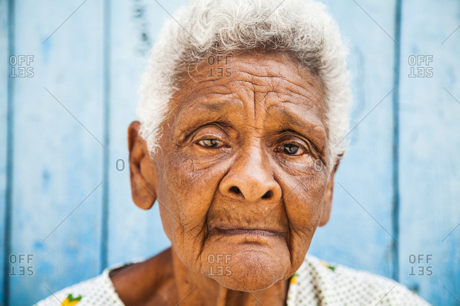 Old woman looks into the camera, portrait, Havana, Cuba