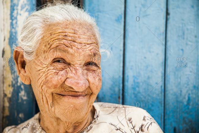 Old woman smiles at the camera, portrait, Havana, Cuba