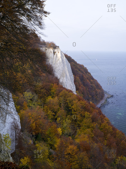 Europe, Germany, Mecklenburg-Western Pomerania, Rugen Island, Jasmund National Park, UNESCO World Natural Heritage Site European beech forests, view from Aseler Ort to Konigsstuhl