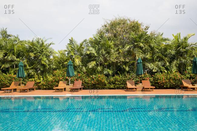 Cambodia, Phnom Penh, Pool of the Sofitel Hotel