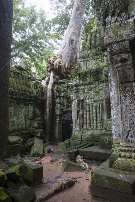 Siem Reap, Angkor, the temple Tha Prom is located in the middle of the jungle and is overrun by tourists