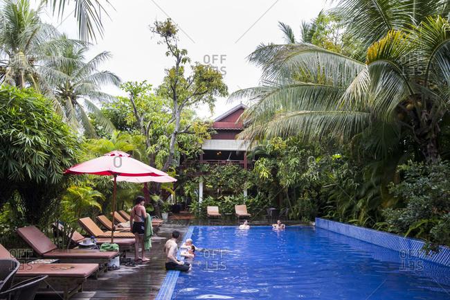 October 7, 2017: Kompong Thom, hotel / restaurant Sambor Village, near the river Sen