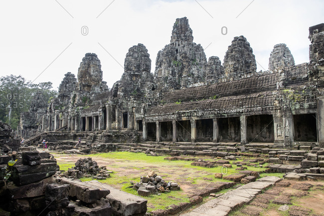 Siem Reap, Angkor, Bayon Temple, tourists overflowing temple, worth seeing stone relief