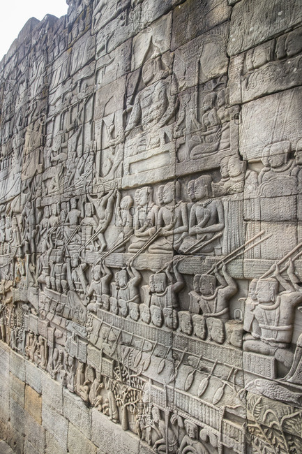 Siem Reap, Angkor, Temple Bayon, wonderful wall reliefs tell the story