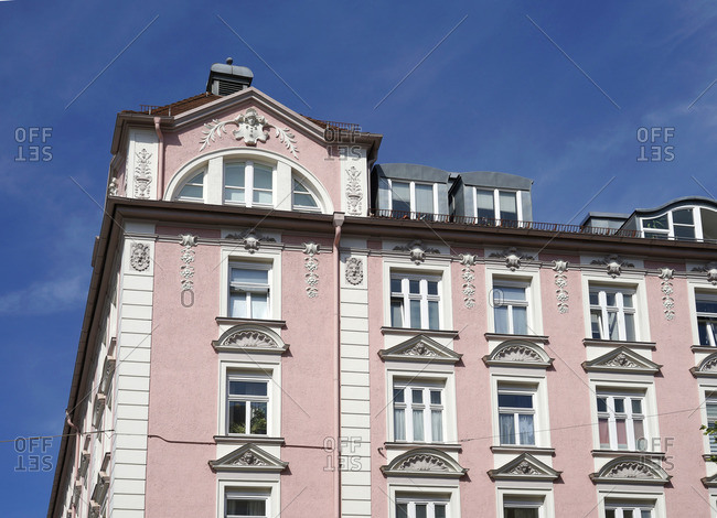 Germany, Bavaria, Munich, old building apartments, Art Nouveau house, old pink facade