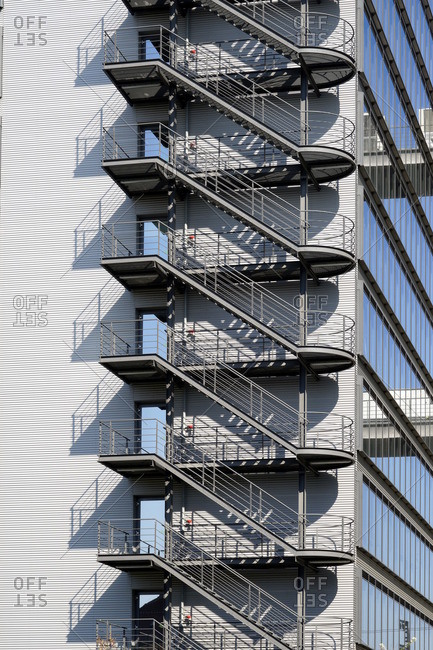 Germany, Bavaria, Munich, telecom center, office building, steel staircase, exterior
