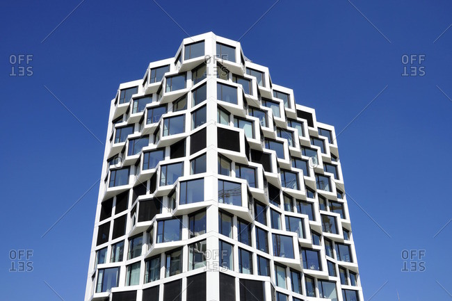 April 18, 2018: Germany, Bavaria, Munich, Neuhausen, residential towers 'Friends', facade